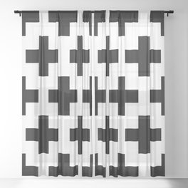 classic retro elegant geometric Yaksha Sheer Curtain