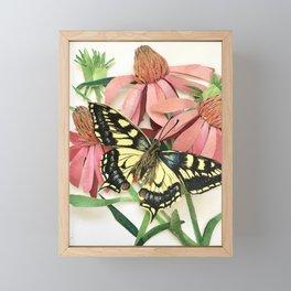 Floral Paper Cut Swallowtail Framed Mini Art Print