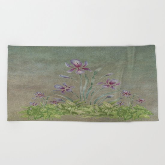 Painterly Spring Flower Garden  Beach Towel