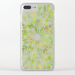 Mandala Desert Cactus Green Clear iPhone Case
