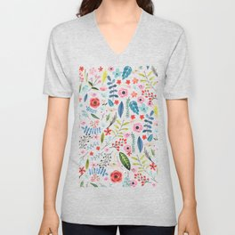 Cute colorful botanical flowers and leafs pattern Unisex V-Neck