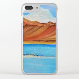 Pangong lake in pastel colours, Landscape painting. Clear iPhone Case