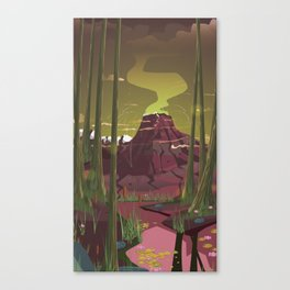 Erupting Volcano in the Swamp Cartoon Canvas Print