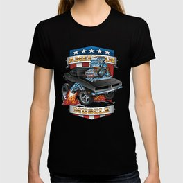 American Muscle Patriotic Classic Muscle Car Cartoon Illustration T-shirt