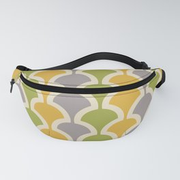 Classic Fan or Scallop Pattern 425 Gray Green and Yellow Fanny Pack