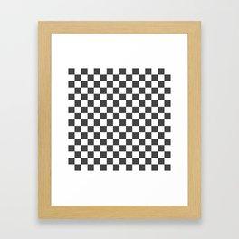Gingham Dark Slate Grey Checked Pattern Framed Art Print