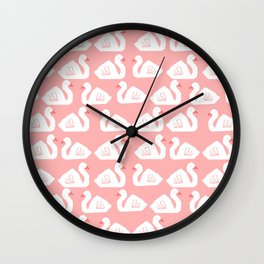 Swan minimal pattern print pink and white bird illustration swans nursery decor Wall Clock