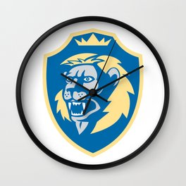 Angry Lion Head Roar Shield Retro Wall Clock