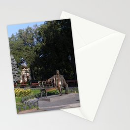 Utesov's sculpture on a bench in the park Stationery Cards
