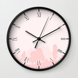 Pale Wooded Foreground Wall Clock