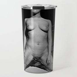 Nude and waiting - Woman naked on a bed Travel Mug