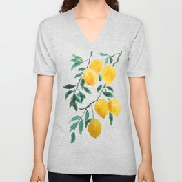 yellow lemon 2018 Unisex V-Neck