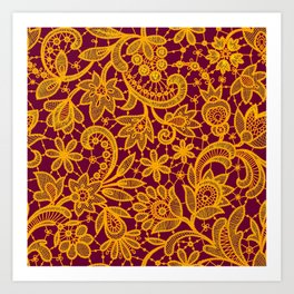 Gold lace on red background. Seamless pattern. Art Print