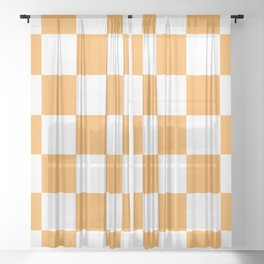 Large Light Orange Checkerboard Pattern Sheer Curtain