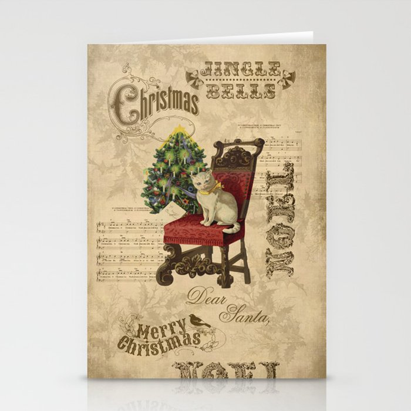 Vintage Christmas Cat Stationery Cards By Lebensart Society6