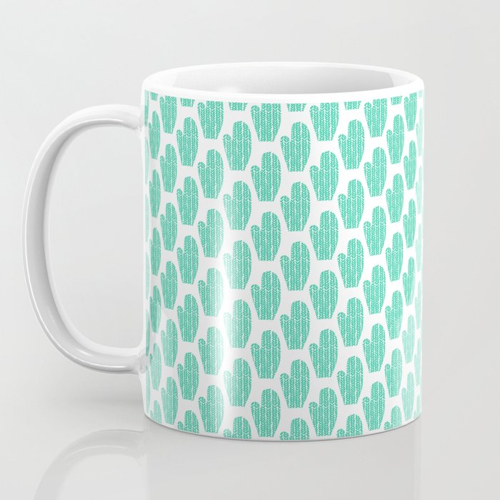 Teal and White Winter Mittens Coffee Mug