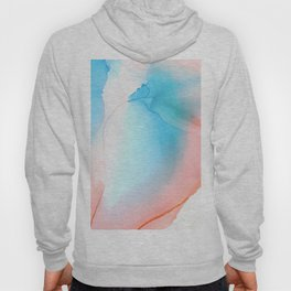 Peach and sky blue Abstract fluid ink Hoody