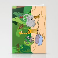 jungle Stationery Cards featuring JUNGLE by Rebecca Bear