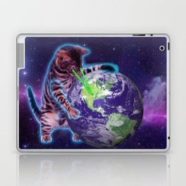 Cat destroying the world with eye laser Laptop & iPad Skin