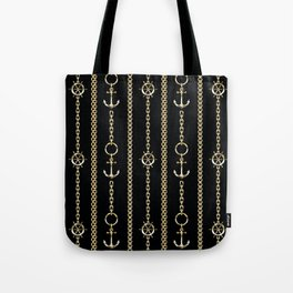 Gold chains on black. Tote Bag