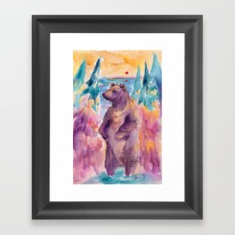 Sunset Dream Bear Framed Art Print