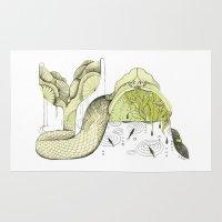 mermaid Area & Throw Rugs featuring Mermaid by Julianna Brion ~ Illustration