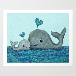 Whale Mom and Baby with Hearts in Gray and Turquoise Art Print