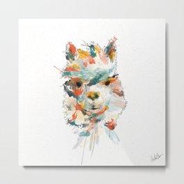 + Watercolor Alpaca + Metal Print