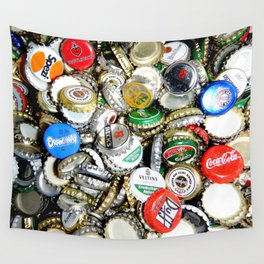 Bottle Caps Painting   Vintage Wall Tapestry