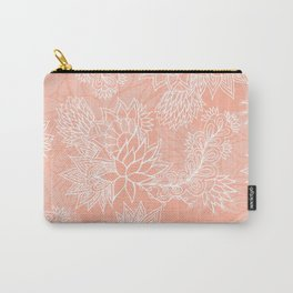 Chic hand drawn floral pattern on pink blush Carry-All Pouch