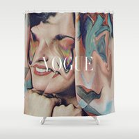 vogue Shower Curtains featuring Vogue by Mrs Araneae