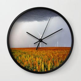 Maizy Day - Colorful Maize and Wind Turbines on Stormy Day in Kansas Wall Clock