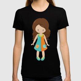 Fashion Girl, Cute Girl, Brown Hair, Blue Shoes T-shirt