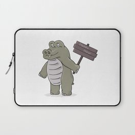 hippopotamus with happy hour sign Laptop Sleeve