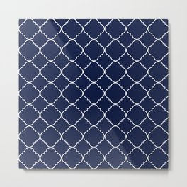 Indigo Navy Blue Moroccan Metal Print