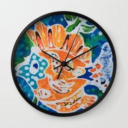 Tropical gold fish batik Wall Clock