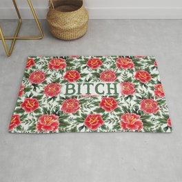 Bitch - Vintage Floral Tattoo Collection Rug