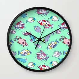 Seamless pattern  with color fishes and bubbles Wall Clock