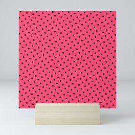 Pastel Goth Pastel Pink Retro Polka Dot (Black) Mini Art Print