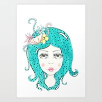 polkadot Art Prints featuring Polkadot Girl by Lisa Bulpin