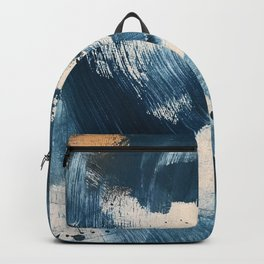 Against the Current: A bold, minimal abstract acrylic piece in blue, white and gold Backpack