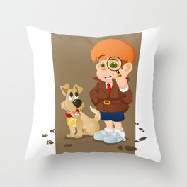 Smart young cartoon detective boy and his dog Throw Pillow