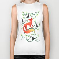 bunnies Biker Tanks featuring Bunnies and a Fox by Freeminds