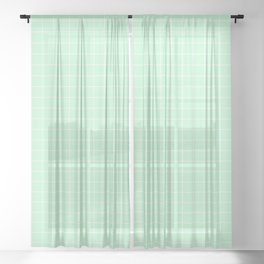 Mint Green with White Grid Sheer Curtain