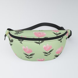 Pink Pixie Flower Pattern On Pastel Spring Green Fanny Pack