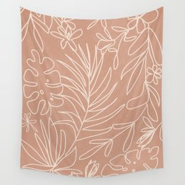 Engraved Tropical Line Wall Tapestry