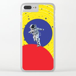 Lone Astronaut on an Atomic Mission - Yellow Clear iPhone Case
