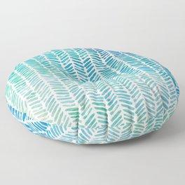 Handpainted Herringbone Chevron pattern - small - teal watercolor on white Floor Pillow