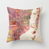hotline miami Throw Pillows featuring Miami by MapMapMaps.Watercolors