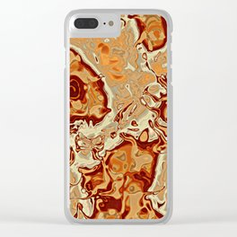 Red Orange Brown Marbled Mineral Stone Pattern Clear iPhone Case